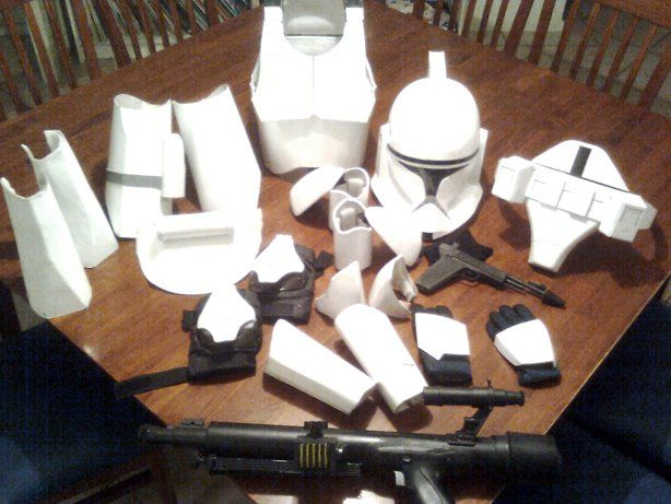 """Impressive work from Instructables user parrster, who meticulously crafted the twenty-three separate pieces for his son's Star Wars """"clone trooper"""" costume, this year, mostly from cardboard and papier-mâché."""