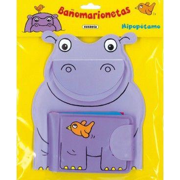 Bañomarionetas - Hipopótamo, Marioneta y libro para el baño.