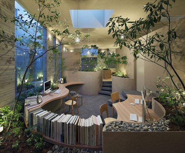 If you're already inspired with more nature designs, here's another interior design idea to make your office appear better and be a better place to work with. This one, again, focuses more on greens and nature.