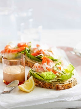 Open faced prawn sandwiches with anchovy mayonnaise
