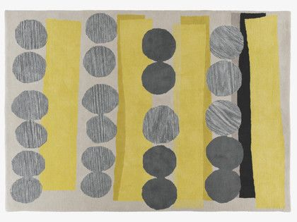 HAPPER GREYS Wool Large grey and yellow hand tufted wool rug 170 x 240cm - HabitatUK