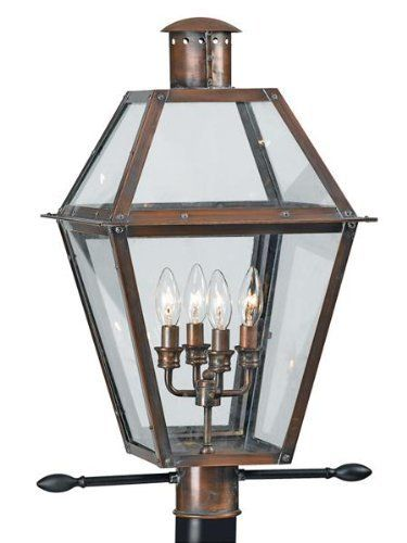 Quoizel RO9014AC Rue de Royal 4 Light Outdoor Post Lamp in Aged Copper with Clear Beveled Glass glass by Quoizel. $649.99. Height:  26.5 inchesWidth:  13.5 inchesLamping:  4 - Candelabra 60 Watts Lamp Type:  IncandescentVoltage:  Line Voltage (120 volts)Base Material:  Solid CopperConnection:  HardwireUL Listing:  Wet Locations