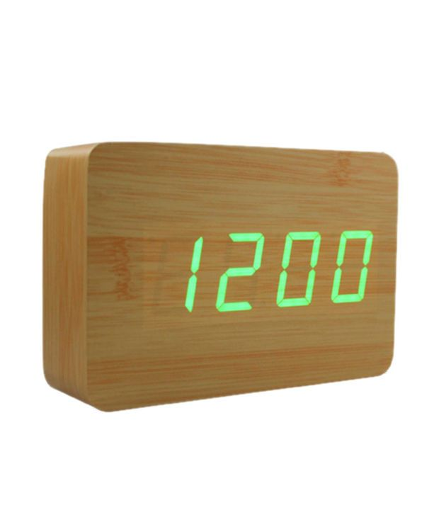 LED Beech Style Alarm Clock