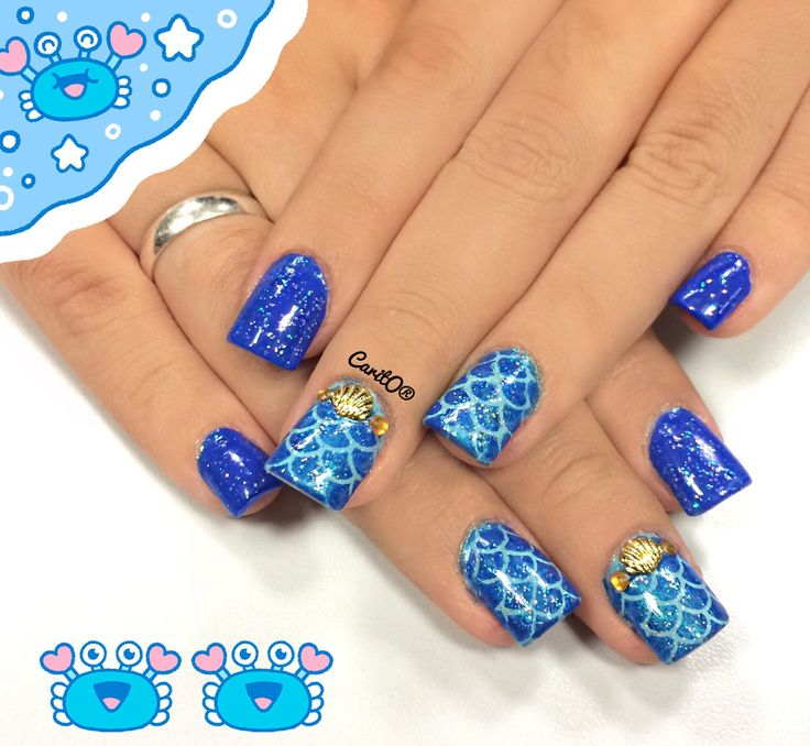 Mermaid nailart, glitter nails, blue manicure, gold beach rinestones