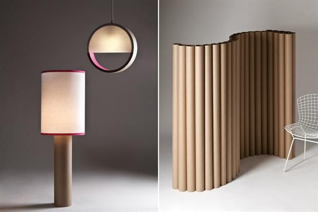 room divider and lamp with cardboard tubes