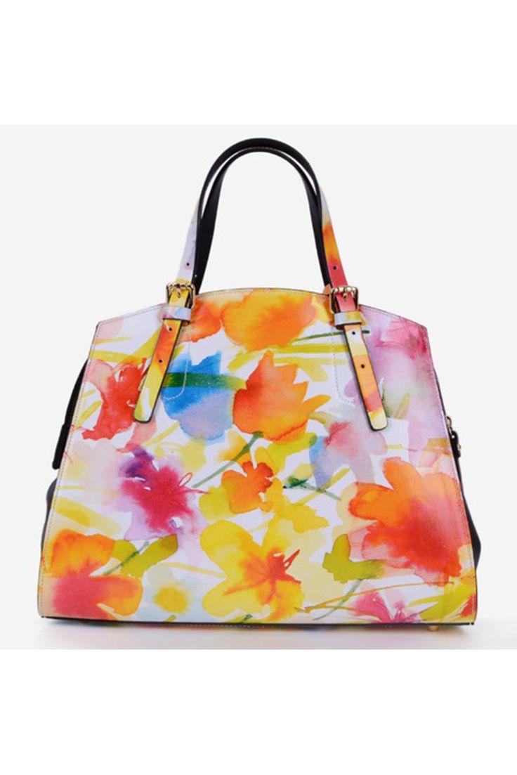 Flower Appeal Orange Leather Bag, floral prints, zipper fastening, one internal pocket compartment, short grab handles and single long detachable handle, upper material: leather, women`s bag