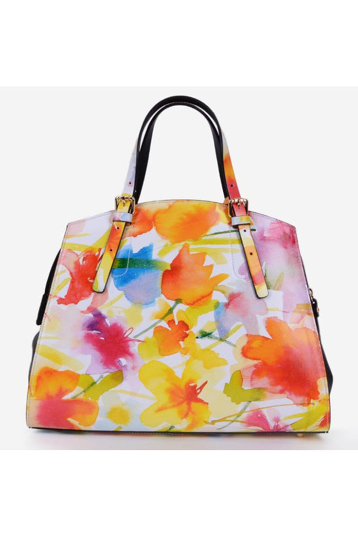 Flower Appeal Orange Leather Bag, floral prints, zipper fastening, one internal pocket compartment, short grab handles and single long detachable handle, upper material: leather, women`s bag