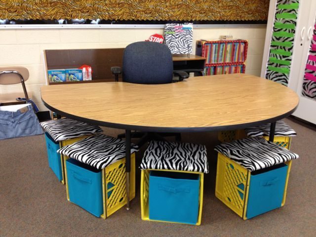 Teacher table area with crate seating!