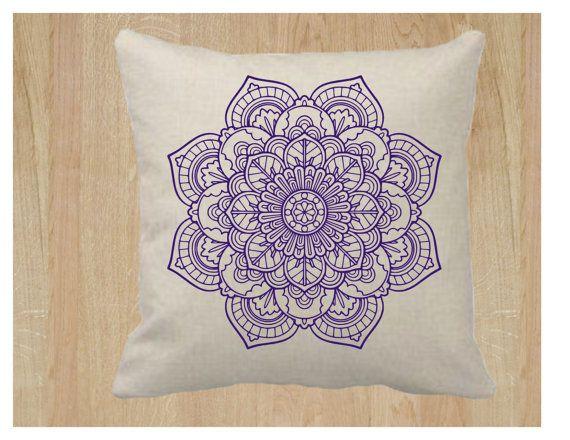 18 x 18 Mandala flor almohada cubierta Natural