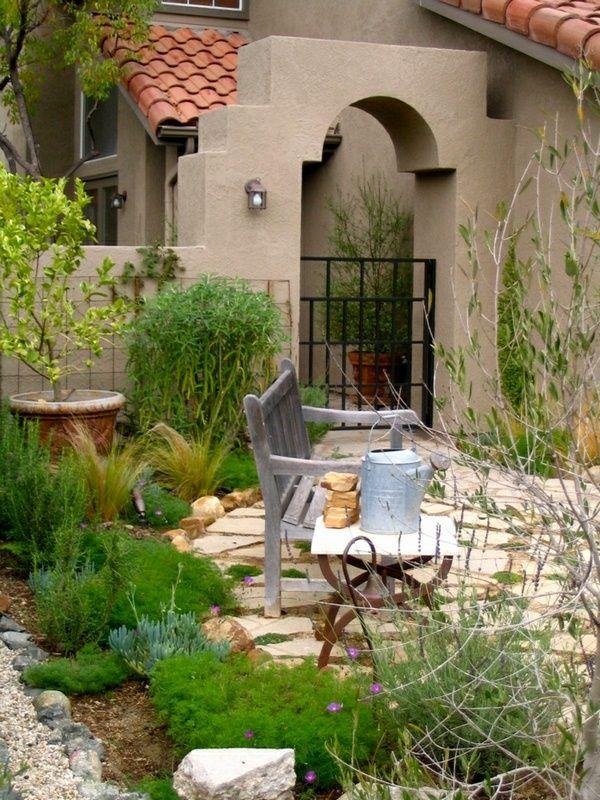 House garden Mediterranean decorative stones Benchtable Watering
