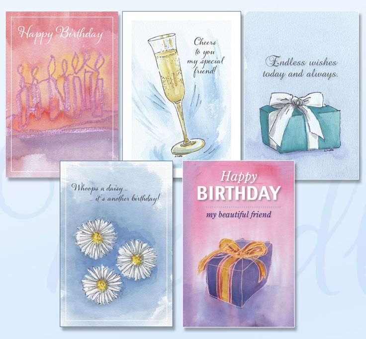 'BIRTHDAYS' Greeting card pack includes five cards featuring soft watercolours just for your special loved one. www.boodledesigns.com.au