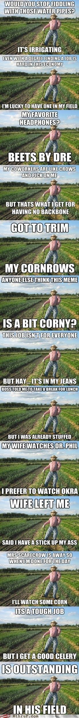 Punny.: Scarecrows Puns, Civic Duty, Agri Humor, Scarecrows Memes, Scarecrows Humor, Darn Funny, Funny Scarecrows, Favorite Memes, Dakota Memes
