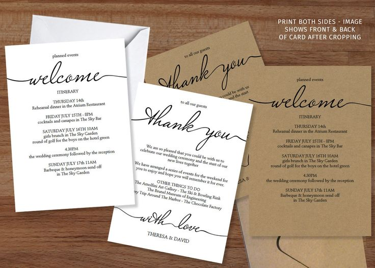 13 best Wedding Itineraries \ Welcome Cards images on Pinterest - guest card template