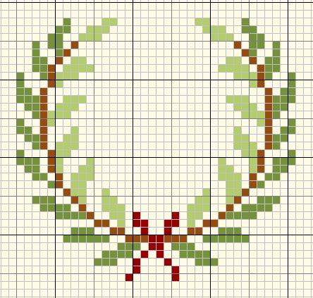 Holly wreath cross stitch Christmas