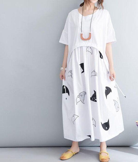 874b038549 White cotton Plus Size Maxi Dress Women Loose Dress Summer In the floor  dress
