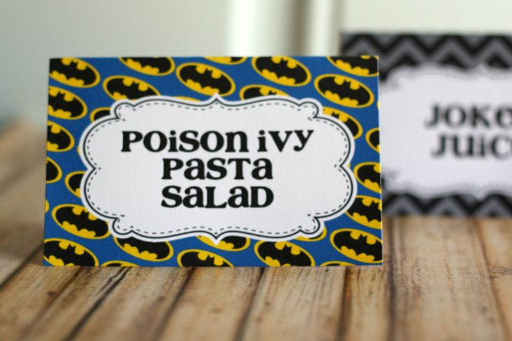 Batman Party Food Tents by thelovelyapple on Etsy, $8.00