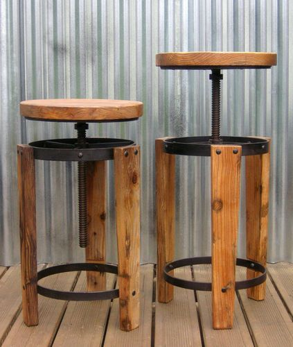Antiqued Industrial Bar Stool. Reclaimed Wood Corkscrew Seat