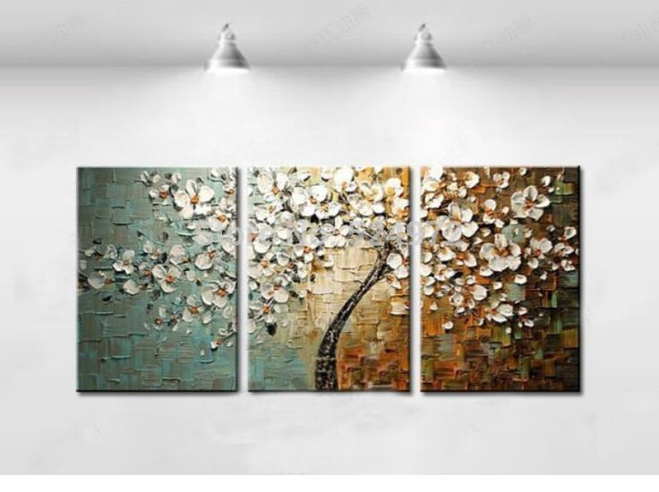 Free shipping  Handpainted modern home decor wall art picture white flower color lump thick palette knife oil painting on canvas