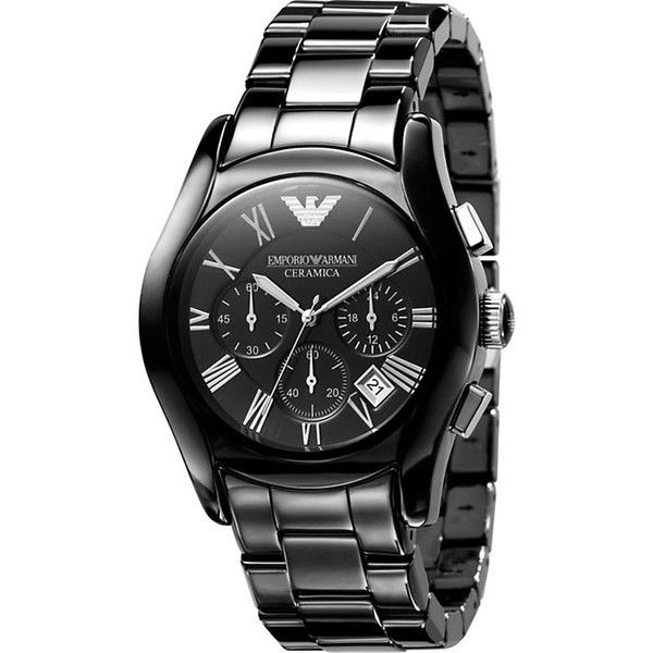 Emporio Armani AR1400 ceramic watch ($525) ❤ liked on Polyvore featuring jewelry, watches, roman numeral jewelry, ceramic watches, emporio armani, emporio armani jewelry and quartz movement watches