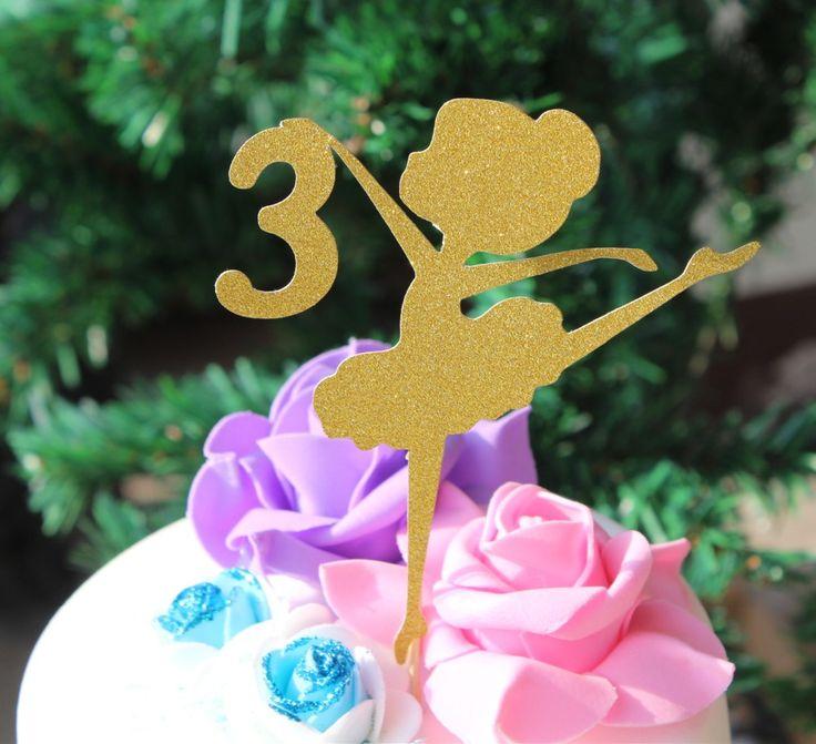 Personalizada edad niñas Bailarina fiesta de cumpleaños de la torta de oro brillo el papel de un lado primera 2do 3ro 4to 5to 6to cumpleaños partido en Suministros de decoración de Pasteles de Hogar y Jardín en AliExpress.com | Alibaba Group