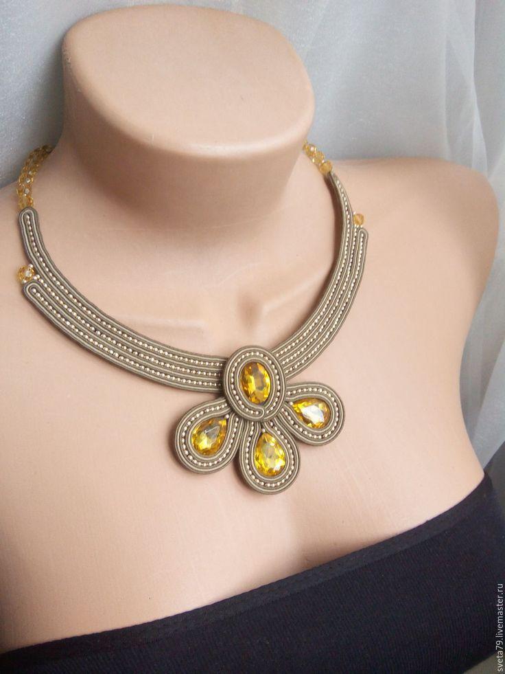"""Купить Колье """"Отражние солнца"""" - золотой, сутажные украшения, украшения ручной работы, колье с камнями"""
