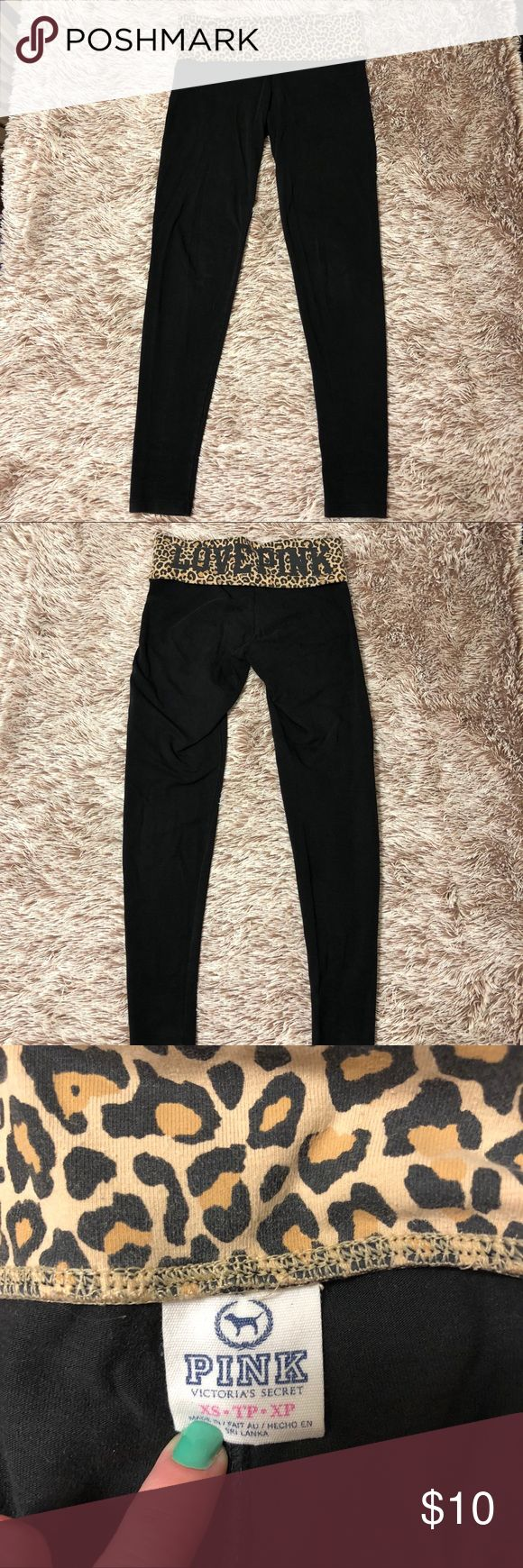 """VS Pink Leopard Leggings Victoria's Secret Pink leopard top leggings. Back says """"LOVE PINK"""".  Perfect for lounging around. Colors are slightly faded due to washing. PINK Pants Leggings"""