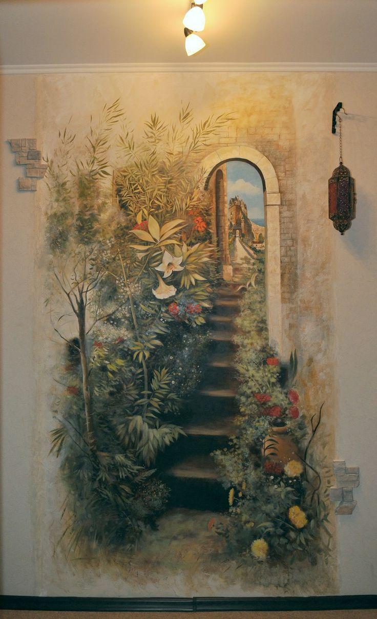 Роспись стены в коридоре .Автор Михаил Федотов.