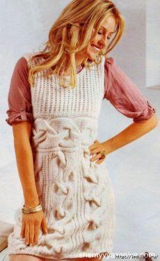 Вязание. Платье без рукавов с красивыми косами