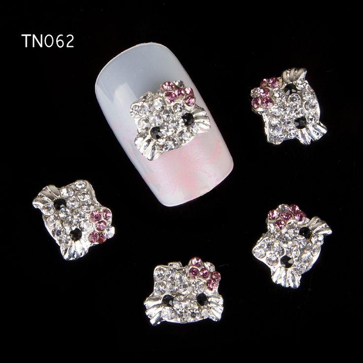 10 stk/partij Diamond Glitter Kitty Kat Nail Art Decoratie 3D Nail Lichtmetalen Charm Sieraden Decoraties voor Nail Art Studs Nail gereedschap