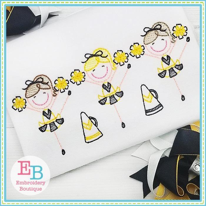 Sketch Cheerleader Embroidered Shirt or Bodysuit; Girls Embroidered Shirt