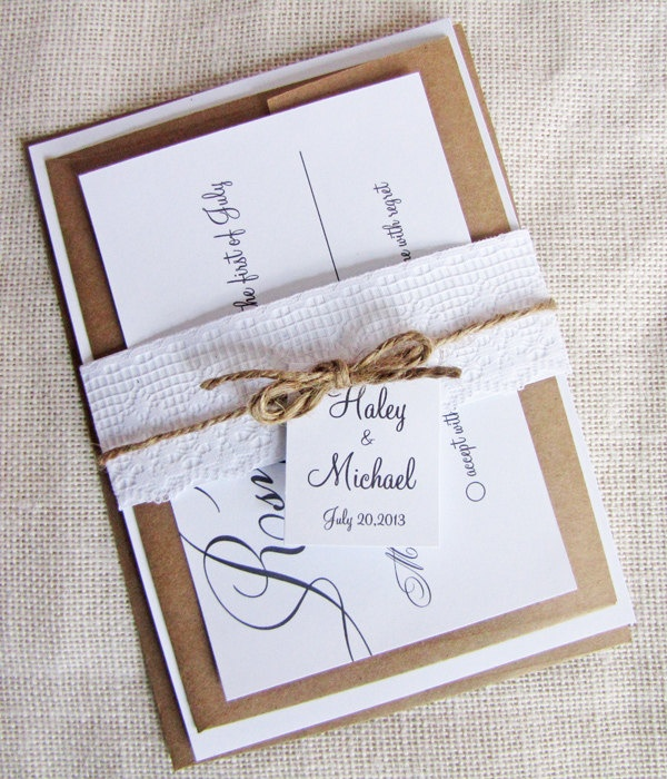 modern calligraphy lace and twine belly band wedding invitation deposit listing 7500 via etsy - Wedding Invitation Belly Band