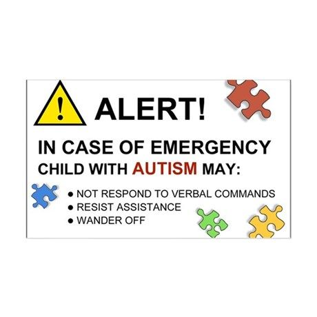 Autism Emergency Warning Sticker for Car on CafePress.com