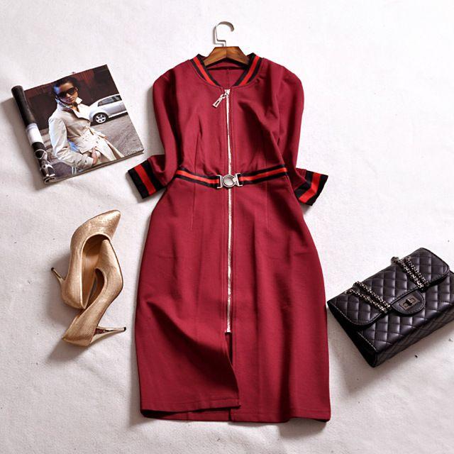 femmes automne hiver robe 2016 mode l gante bureau rouge. Black Bedroom Furniture Sets. Home Design Ideas