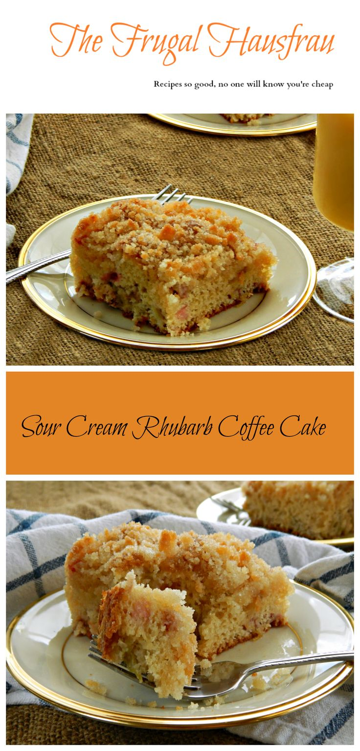 Sour cream coffee cake the frugal chef - Super Easy Mix By Hand Sour Cream Rhubarb Coffee Cake A Family Fave