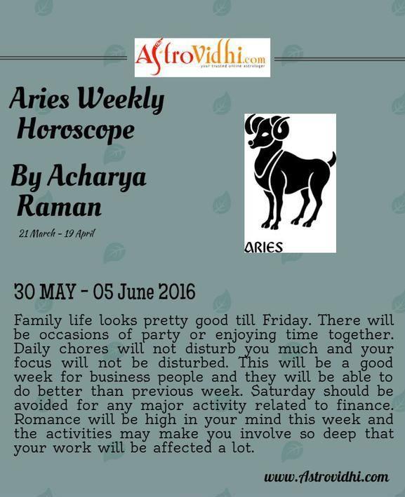Check your Aries Weekly Horoscope (30/05/2016 - 05/06/2016).  #aries #weekly_horoscope