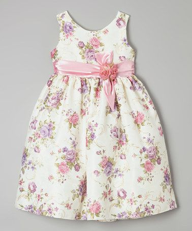 Loving this Pink Rosette Sash Dress - Girls on #zulily! #zulilyfinds