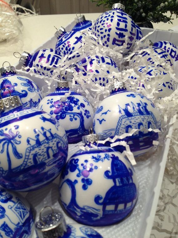hand painted glass blue willow inspired ornament by