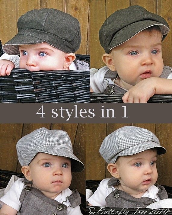 This newsboy style hat is so versatile. It's reversible, and you can also wear your hat open and pulled down all the way or you can tuck the brim and band under the crown in the front for a different look. 4 different hats in one! It's excellent for both boys and girls! This hat is easy to sew. The e-book is 14 pages with 43 color pictures to guide you through the step by step instructions. The pattern is professionally CAD drawn. *embellishments are not included in this pattern* The size...