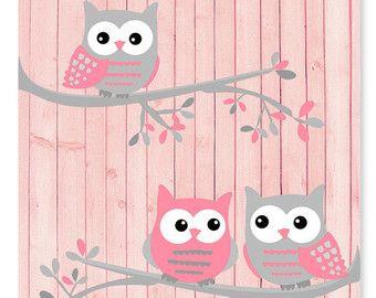 Art de hibou de pépinière Pink chouettes grises par vtdesigns