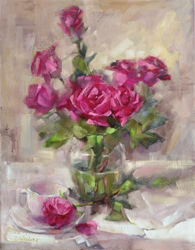 """""""Roses and White Teacup"""" - Original Fine Art for Sale - © Barbara Schilling"""