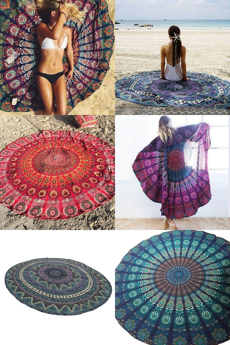 [Visit to Buy] 150cm Peacock Bedding Outlet Round Beach Towel Fire Mandala Chiffon Beach Swim Towels Bohemia Bain Para Playa Toallas  Hot Sale #Advertisement