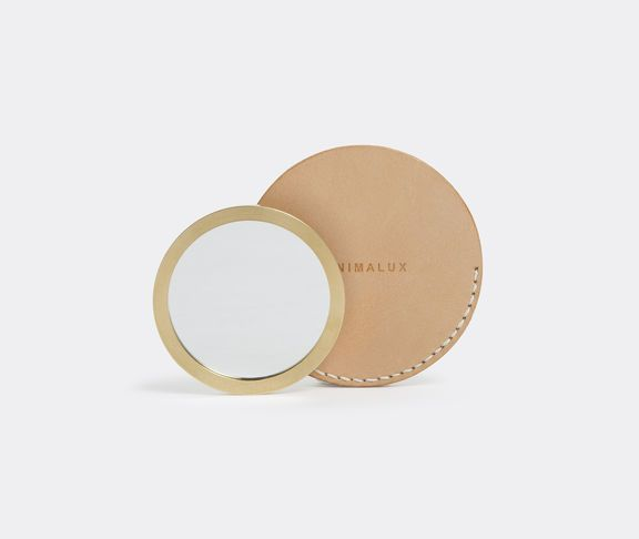 Brass pocket mirror with leather sleeve