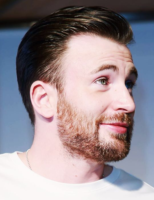 chris evans' fuzzy cheeks are perfectly undone. hair could be a bit messier though.