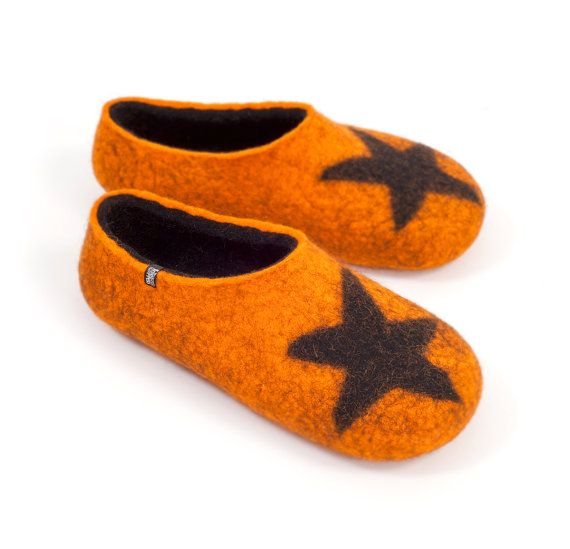 Teenager Slippers Unisex Felted Wool Slippers Orange by Wooppers