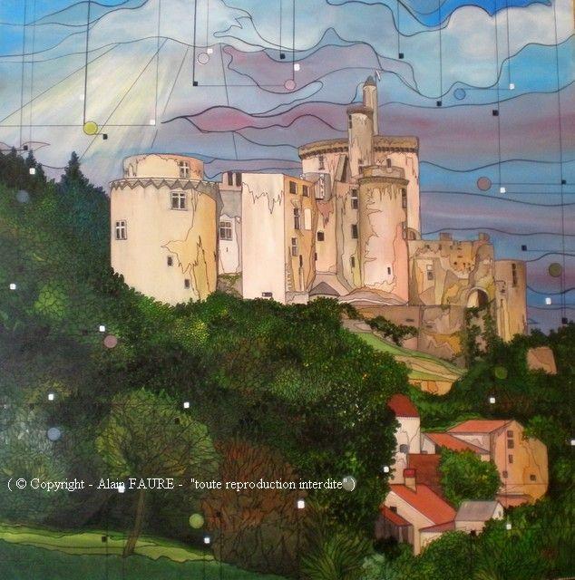 BONAGUIL Acrylique sur toile : 100 x 100..1100 € De fière allure ce château s'appelait à l'origine « bonne aiguille » car situé sur un éperon rocheux. Pour d'autres, l'explication serait différente et il s'agirait de « bonne eau » car  son site de construction aurait été choisi pour la présence d'une source. Je laisse vagabonder mon imagination devant ce chef-d'œuvre au passé mouvementé et la forêt mystérieuse qui l'entoure m'autorise à envisager quelques légendes.