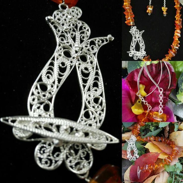 Ćilibar, filigran,srebro,ručni rad Amber&fine silver filigree,handmade