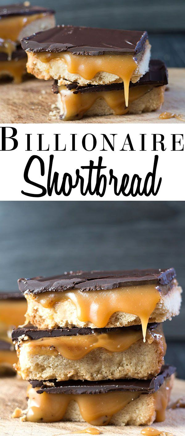This recipe  for Billionaire Shortbread has a crisp shortbread base with an indulgent Salted caramel filling that's topped with a layer of dark chocolate - pure heaven!