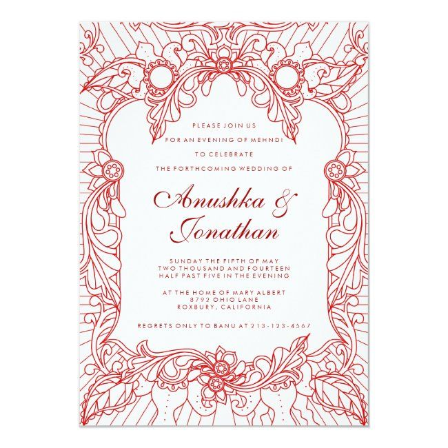 Red Mehndi Party Mehndi Invitation Zazzle Com In 2020 Mehndi Party Wedding Invitations Trendy Wedding Invitations