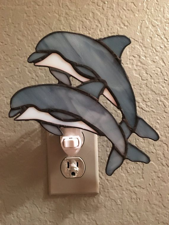 Dolphin Stained Glass Night Light by StainedGlassbyTaylor on Etsy
