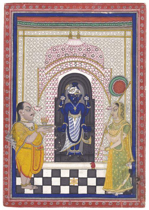 Vishnu worship, Rajasthani painting